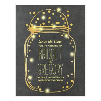 Gold Foil Mason Jar - Confetti Save the Date Postcard