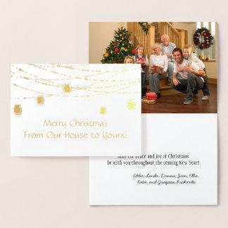 Gold Foil Mason Jar String Lights Photo Christmas Foil Card