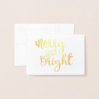 Gold foil Merry and Bright Christmas Notecard Foil Card