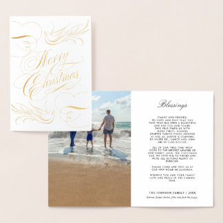 Gold Foil Merry Christmas Calligraphy Doves Photo Foil Card