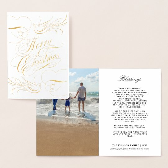 Gold Foil Merry Christmas Calligraphy Doves Photo Foil