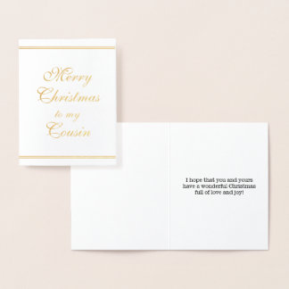 """Gold Foil """"Merry Christmas to my Cousin"""" Card"""
