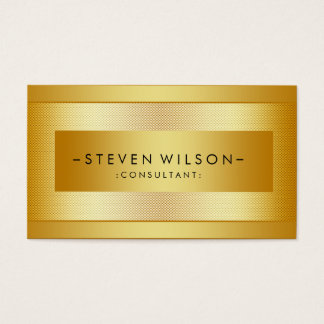 Gold Foil Metal Professional Modern Elegant Black Business Card