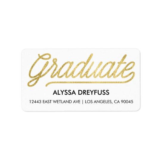 Gold Foil Modern Script Graduate Address Labels