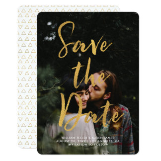 Gold Foil Modern Script Overlay Save the Date Card