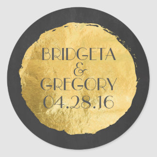 Gold Foil Modern Wedding Classic Round Sticker
