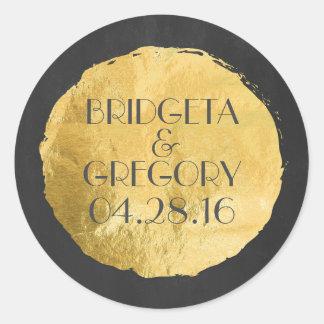 Gold Foil Modern Wedding Round Sticker