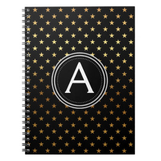 Gold Foil Monogram Stars Notebook