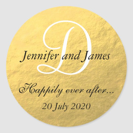 Gold Foil Monogram Stickers for Wedding Favours