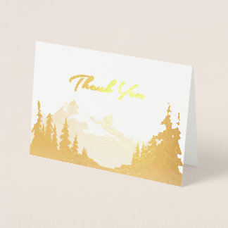 Gold Foil Mountain Wedding All-Purpose Thank You Foil Card