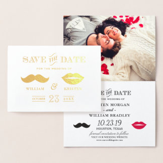 Gold Foil Mustache Lips Wedding Save the Date Foil Card