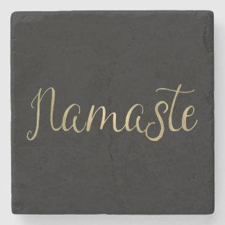Gold Foil Namaste Stone Beverage Coaster