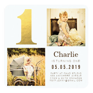 Gold Foil One 1st Birthday Photo Cards 13 Cm X 13 Cm Square Invitation Card