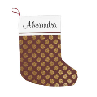 Gold Foil Palm Leaves and Burgundy Monogram Small Christmas Stocking