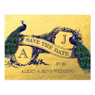 Gold Foil Peacock Save the Date Postcard