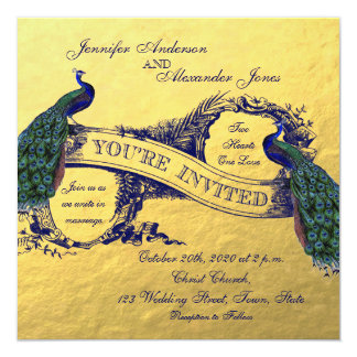 Gold Foil Peacock Wedding Invitation
