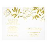 Gold foil peonies white wedding folded program 21.5 cm x 28 cm flyer