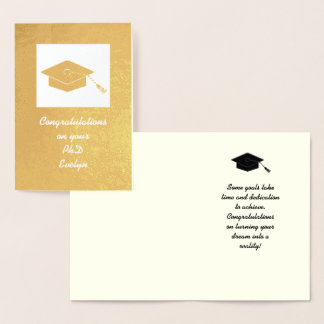 Gold Foil PhD Graduation Card