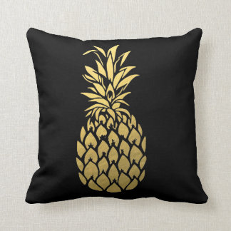 Gold Foil Pineapple Black Throw Pillow