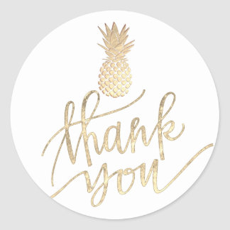 gold foil pineapple classic round sticker