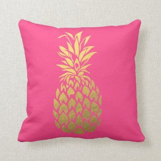 Gold Foil Pineapple Pink Throw Pillow