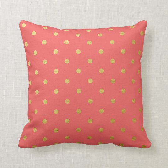 Gold Foil Polka Dots Modern Coral Pink Throw