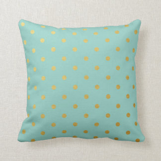 Gold Foil Polka Dots Modern Mint Blue Metallic Cushion