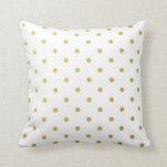 Gold Foil Polka Dots Modern White Metallic Throw Cushion