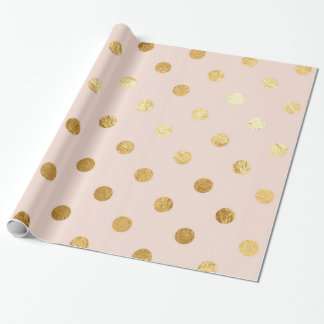 Gold Foil Polka Dots Pattern Wrapping Paper Blush