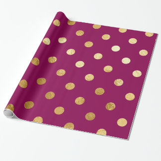 Gold Foil Polka Dots Pattern Wrapping Paper Plum