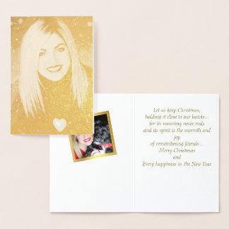 Gold Foil Portrait Photo Christmas Card