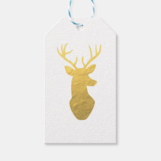 Gold foil reindeer gift tags