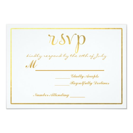 Gold Foil RSVP Wedding card invitation