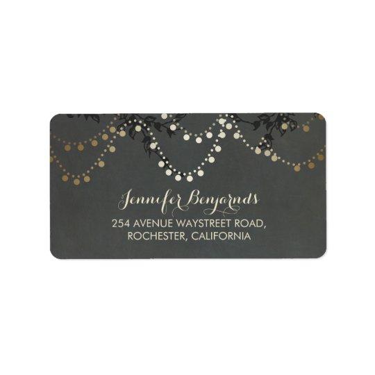 Gold Foil Rustic String Lights Wedding Label