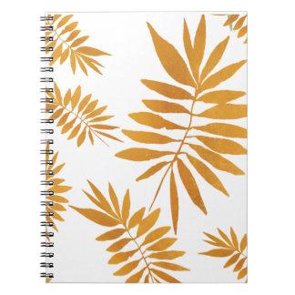 Gold foil scattered fern leaves notebook