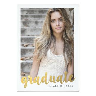 Gold Foil Script Graduate  | GRADUATIONS 13 Cm X 18 Cm Invitation Card