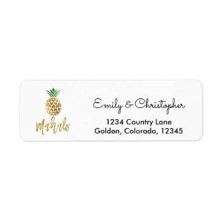 Gold Foil Script Wedding Mahalo Pineapple