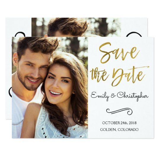Gold Foil Script Wedding Save the Date Photo Card