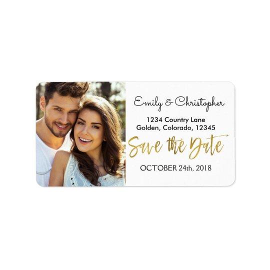 Gold Foil Script Wedding Save the Date Photo Label