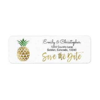 Gold Foil Script Wedding Save the Date Pineapple Return Address Label