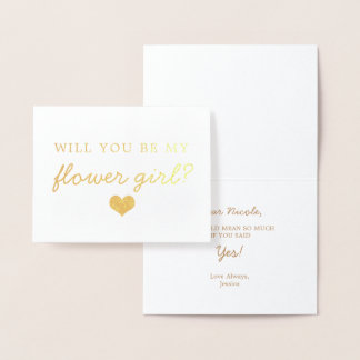 Gold Foil Script Will You Be Flower Girl Card