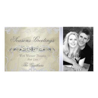 Gold Foil & Silver Filigree Holiday Photo Card