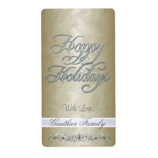 Gold Foil Silver Scroll Happy Holidays Wine