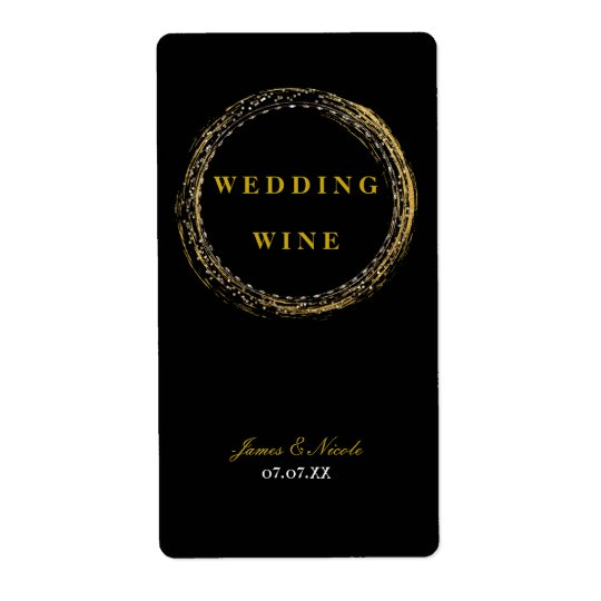 Gold Foil Sparkle Glamour Circle Black Wine Label Shipping Label