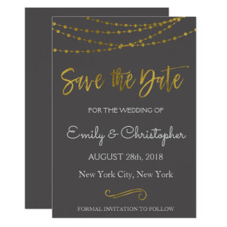 Gold Foil String Lights and Script Save the Date Card