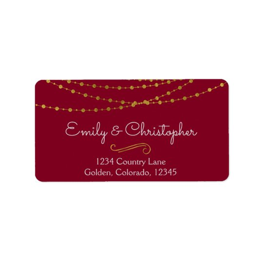 Gold Foil String Lights and Script Wedding Address Label