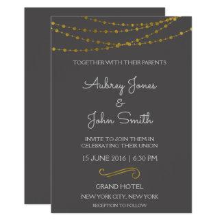 Gold Foil String Lights and Script Wedding Card