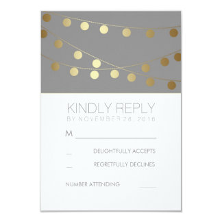 Gold Foil String Lights Modern Wedding RSVP Cards 9 Cm X 13 Cm Invitation Card