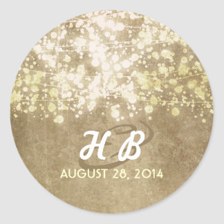 gold foil string lights rustic wedding classic round sticker