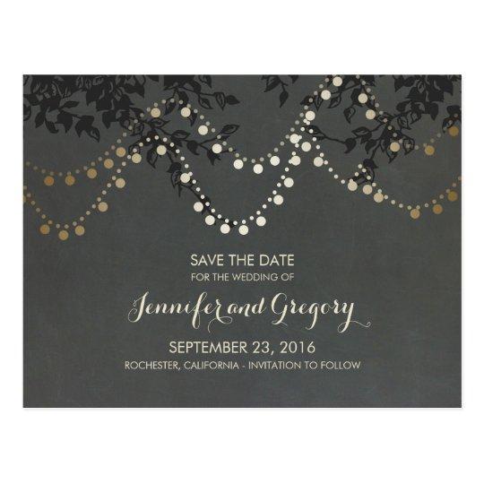 Gold Foil String Lights Save the Date Postcard